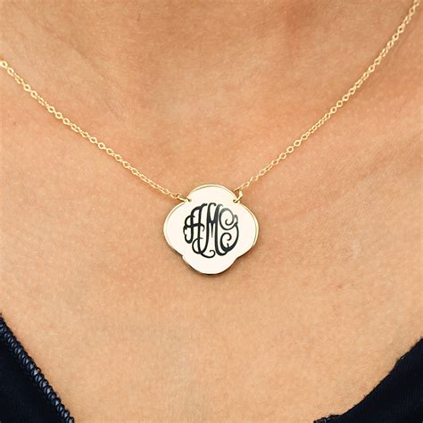 quatrefoil engraved monogram pendant necklace