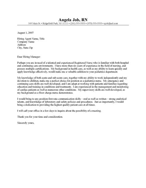 Cover Letter Exles For Nurses by Registered Cover Letter Sle Resume Cover Letter