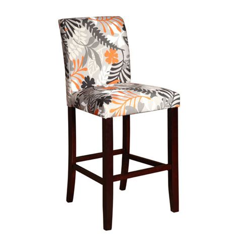 pattern fabric bar stools floral stool in merlot legs with orange black grey and