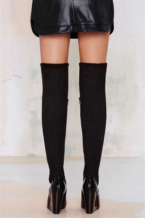 lyst nasty gal chastity thigh high suede boot  black
