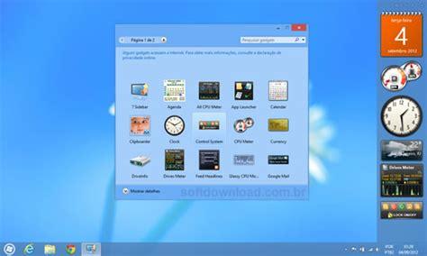Calendario Area De Trabalho Windows 7 Adicione Gadgets No Windows 8 O 8gadgetpack