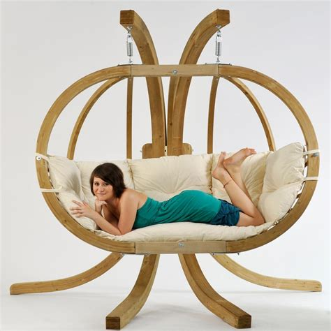 Double globo royal luxury wooden hanging chair and stand set natural swing chairs outdoor