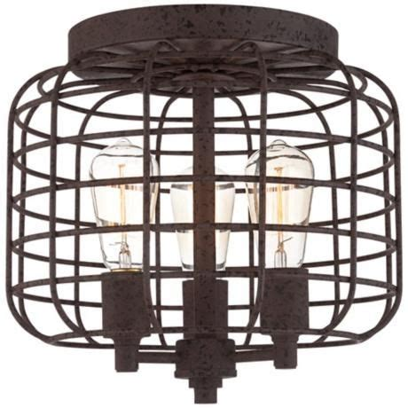 dunmore industrial cage 15 quot wide galvanized ceiling light farmhouse flush mount ceiling larkin industrial rust metal cage ceiling light 3x108 lsplus house stuff