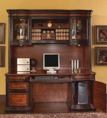 Home Computer Desk With Hutch Home Office Computer Desk With Hutch In Two Tone Warm Brown Finish 700814907358 Toolfanatic