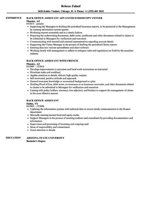 sle resume for back office executive ambulance driver