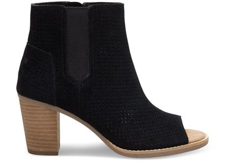 Peep Toe Booties Galore by Boots Toms Black Suede Perforated S Majorca Peep