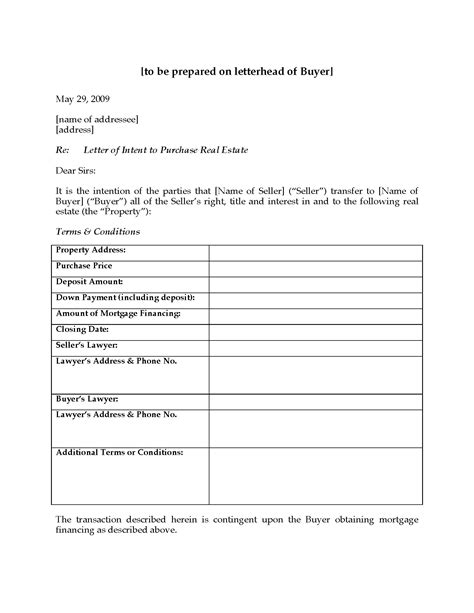 Letter Of Intent To Purchase Real Estate Canada Canada Letter Of Intent To Purchase Real Estate Forms And Business Templates Megadox