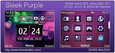 themes pour nokia asha 302 sleek purple theme for nokia asha 302 asha 201 200 c3