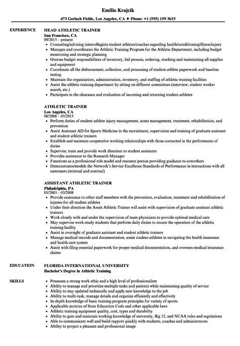 athletic trainer resume sles velvet
