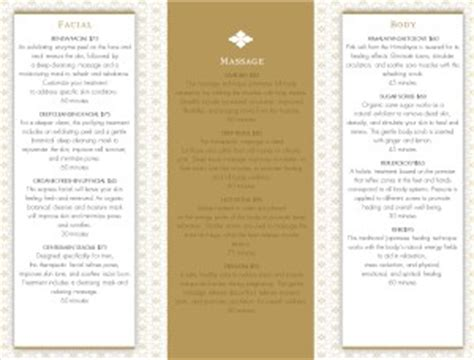 salon services trifold page spa menus