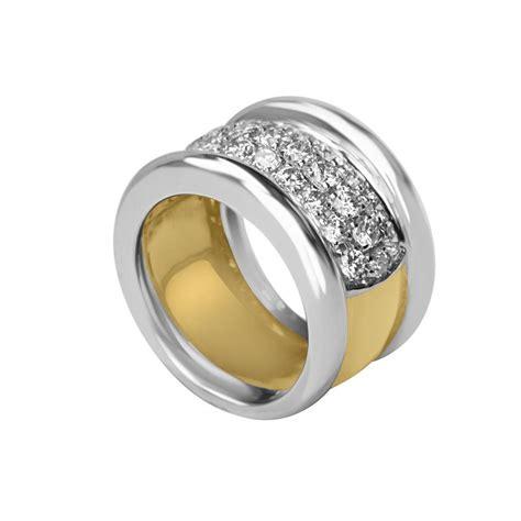 anello pave diamanti anello a fascia in oro bianco e giallo con pav 233 di