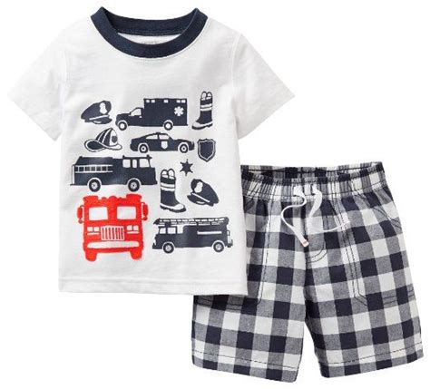 carters 3 piece baby boy plaid short amazon com carters baby boy fire truck plaid short set
