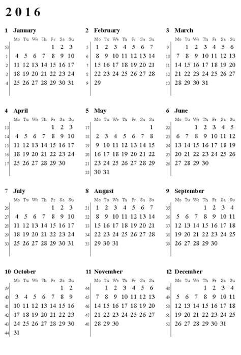 printable week numbers 2016 calendar with week numbers 2016 printable calendar
