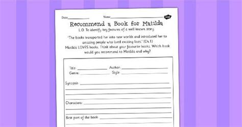 roald dahl book review template recommend a book for matilda worksheet roald dahl