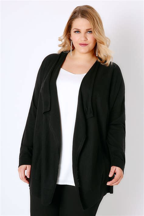 black knitted cardigan black knitted waterfall cardigan plus size 16 to 36