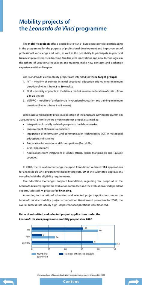 leonardo programm compendium of projects of leonardo da vinci programme