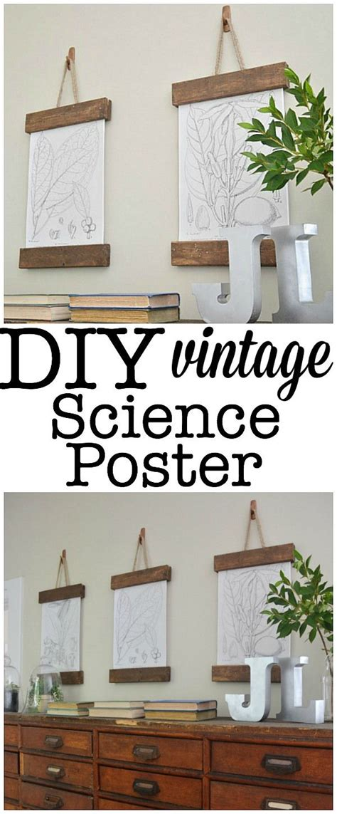 ways to hang posters diy vintage science poster