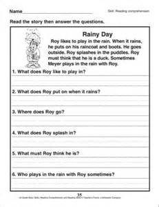 With questions 1st grade reading comprehension skills printables