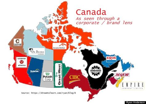 Locations Of The Major Corporate by This Is Corporate Canada In 1 Map Photo Huffpost Canada