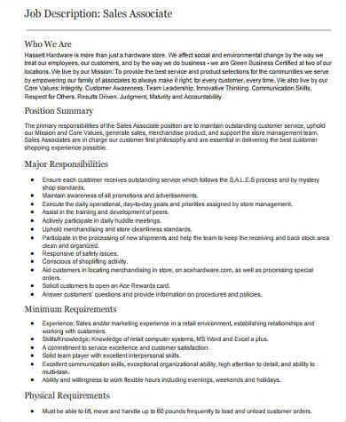 sales associate description sle retail sales associate description 6
