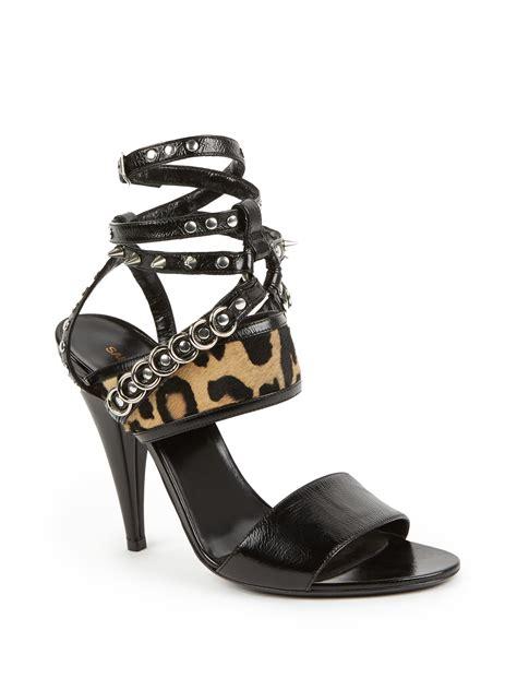 leopard sandals heels laurent strappy leopard print pony hair