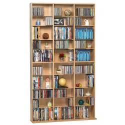 Cd Wall Unit 1080 Cd Dvd Media Cabinet Storage Maple Adjustable Shelves