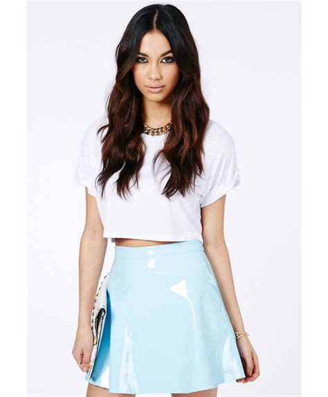 missguided milusia pvc skater skirt in baby blue in blue