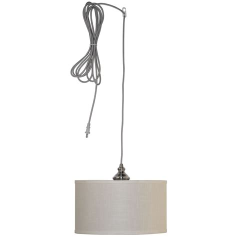 Hton Bay Carroll 1 Light 14 In Brushed Nickel Swag Swag Pendant Lighting
