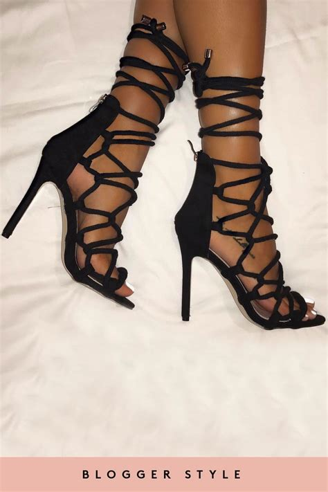laced up high heels katniss black rope lace up high heels