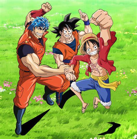 film one piece x toriko x dbz special dragon ball z x one piece x toriko anime crossover visual