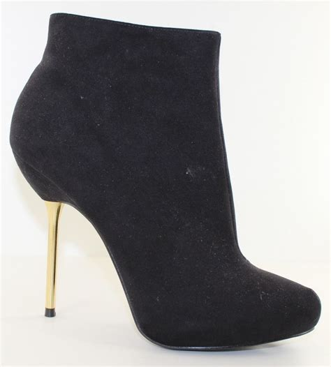 shoedazzle boots shoedazzle parisa black faux suede zip up 5 gold heel