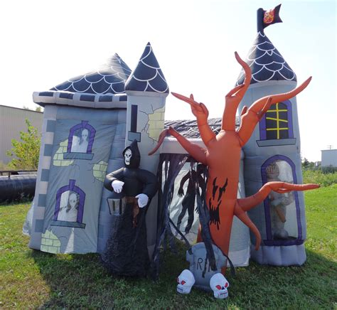 inflatable haunted house halloween outdoor airblown inflatable 12ft haunted house ebay