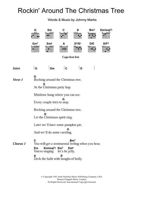 printable rockin around the christmas tree lyrics brenda lee rockin around the christmas tree sheet