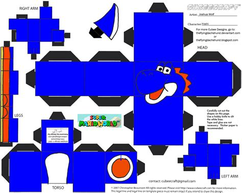 Yoshi Papercraft - vg 5 blue yoshi cubee by theflyingdachshund on deviantart