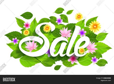 Flowers For Sale by Sale Word With Butterflies Leaves And Flowers