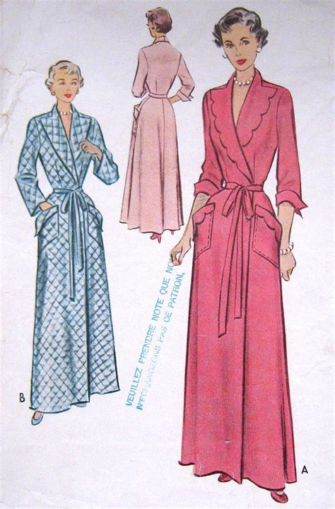 Vintage Housecoat Pattern | vintage 1950s bath robe housecoat pattern long evening