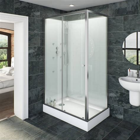 rectangular glass backed shower cabin    diy