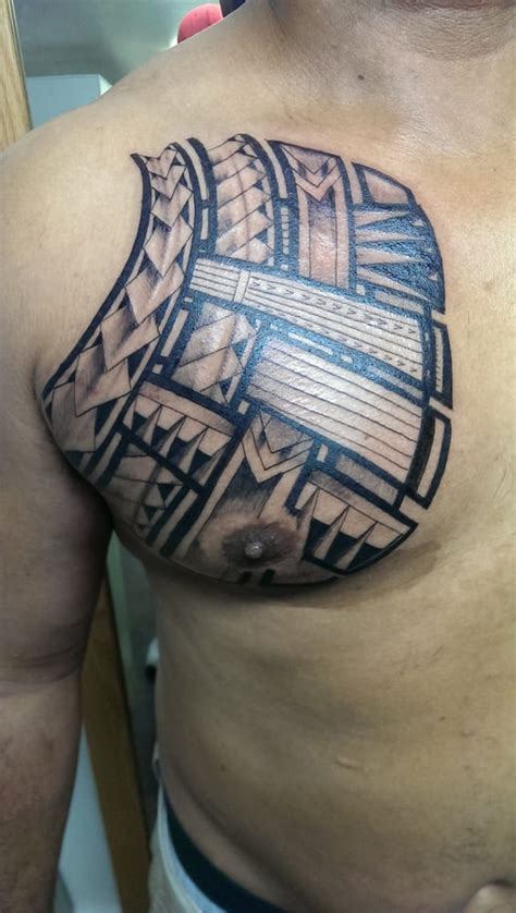 chest plate tattoos polynesian chest plate done by artist dane yelp