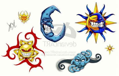three star and the sun tattoo design sun moon and tattoos designs cool tattoos bonbaden