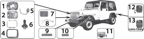 87 jeep wrangler parts jeep wrangler yj lighting parts 87 95 quadratec