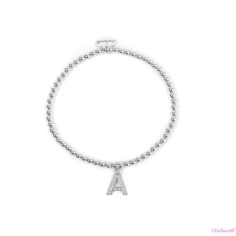 bracciale con lettere bracciale argento lettera a con sfere da 3 mm i fortunelli