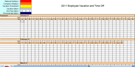 employee vacation calendar vacation calendar template  calendar template vacation