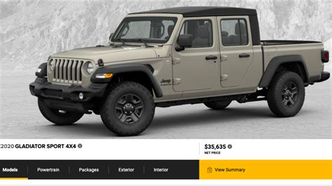 jeep models 2020 the 2020 jeep gladiator s build price configurator is