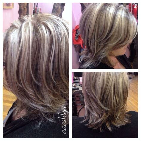 photographs of grey hair with highlights ashy blonde platinum highlights lowlights hair