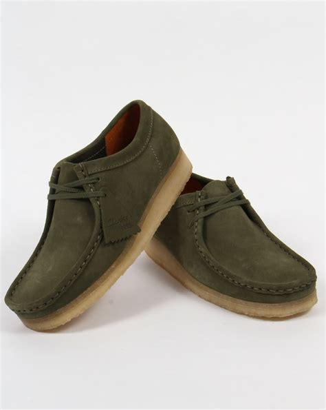 Original Clarks Preloved Shoes clarks originals wallabee shoes in suede leaf green moccasin