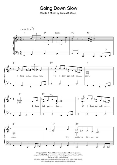 Going Down Slow Sheet Music | James B. Oden | Piano & Vocal