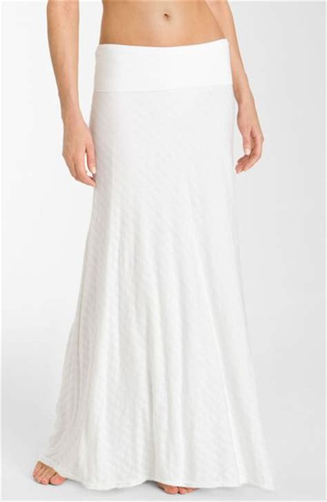 roll waist maxi skirt in white lyst