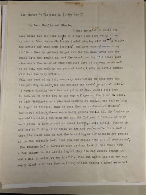 letters for emily emily carr to winnie evitt november 11 n d