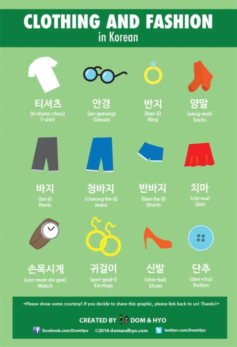 in korea clothing fashion vocabulary in korean dom hyo korea comics graphics