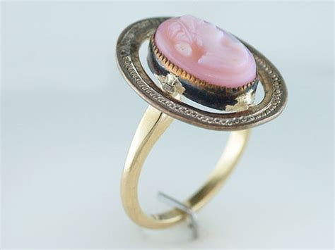 vintage antique cameo 14k yellow gold cocktail ring